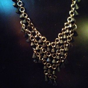 Nwot 1928 silvertone black beaded into V necklace